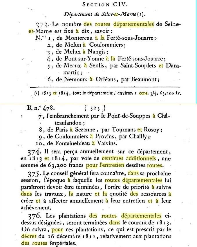 Seine et Marne Bulletin des lois du 7 janvier 1813