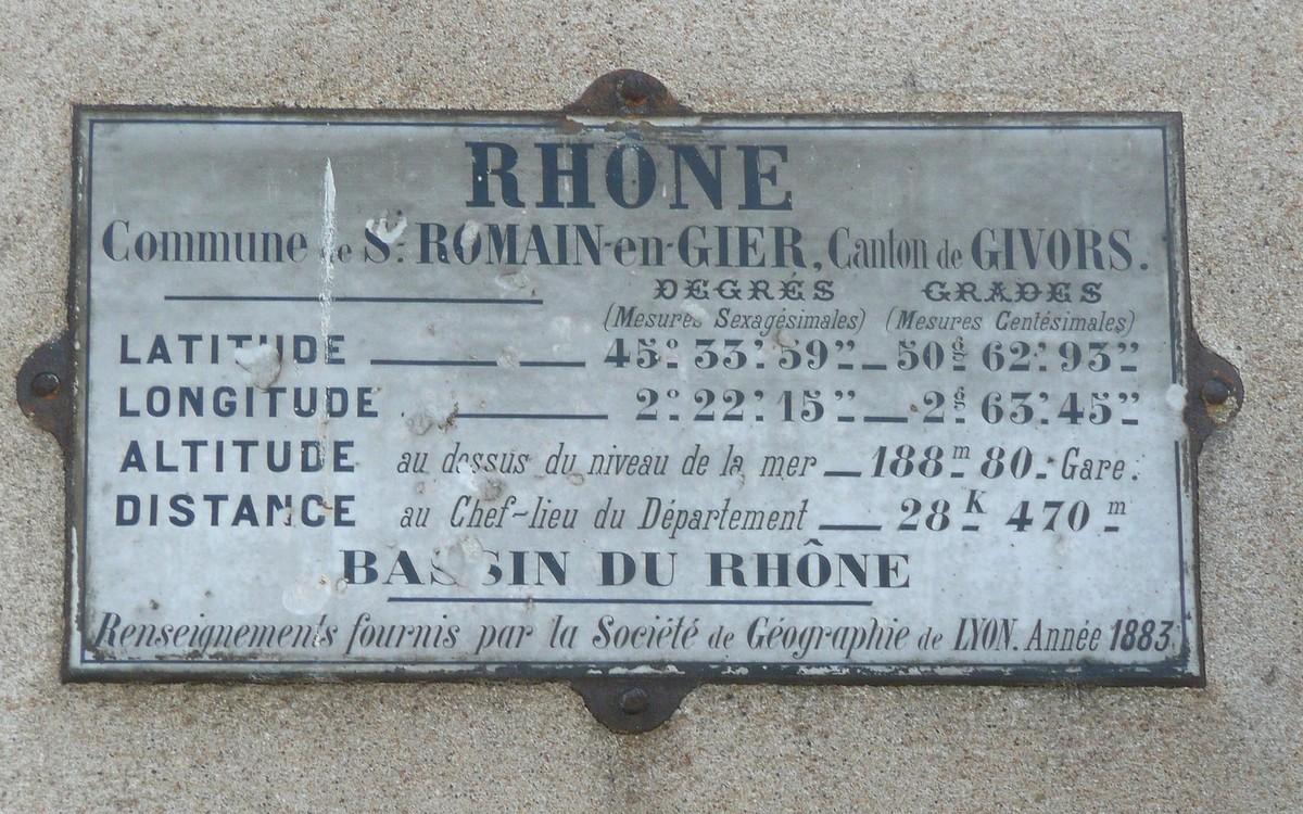 Plaques géographiques dans le Rhône